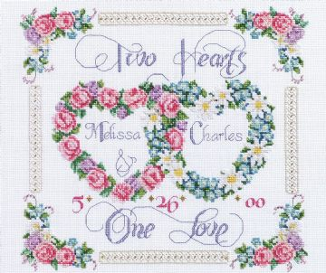 Two Hearts, One Love  Cross Stitch Kit from Janlynn